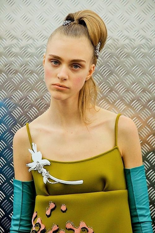 Hedvig Palm photographed by Virginia Arcaro backstage at Prada F/W 2015/2016