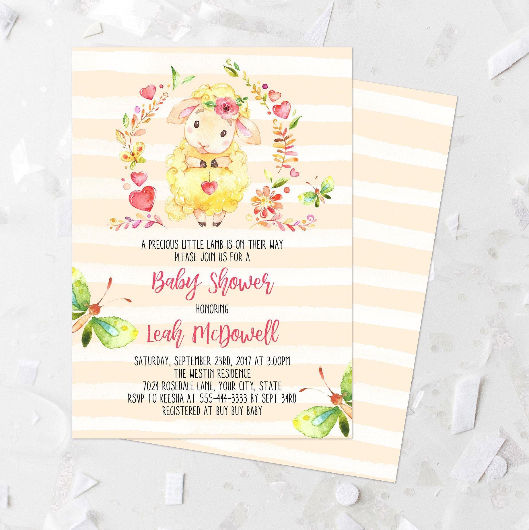Lamb Baby Shower Invitation Printable Floral Lamb Invite Sheep Baby ...