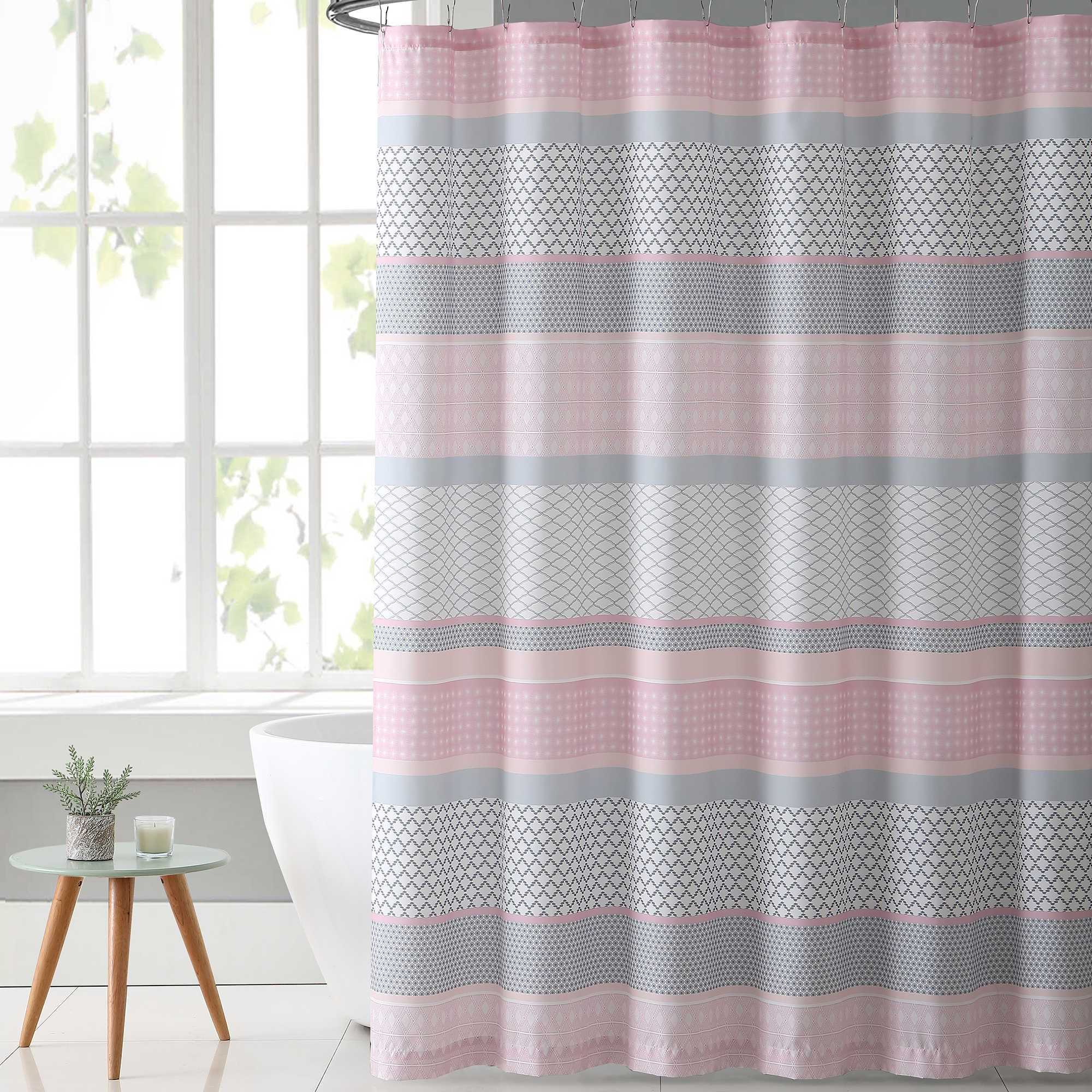Vcny Home Stockholm Shower Curtain In Pink Grey Pink Shower