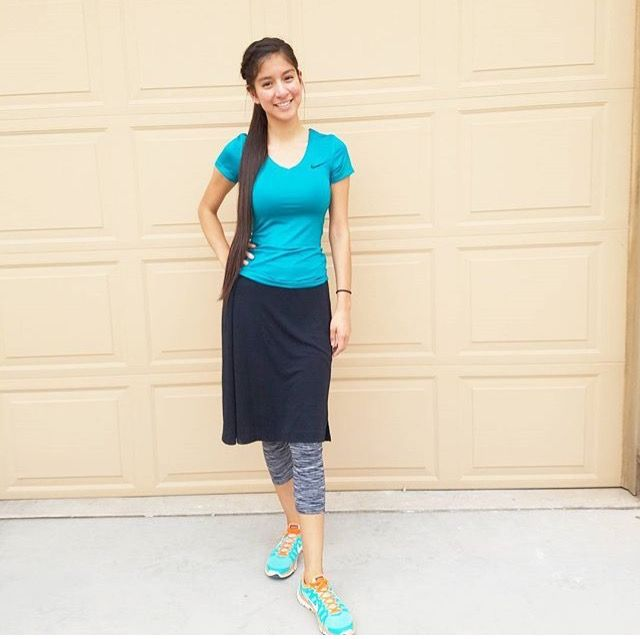 38eccb3f53 Beautiful gal wearing modest workout skirt and leggings. I'm proud of  future Pentecostals