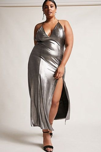 1eeca545b2 Plus Size Metallic Maxi Dress
