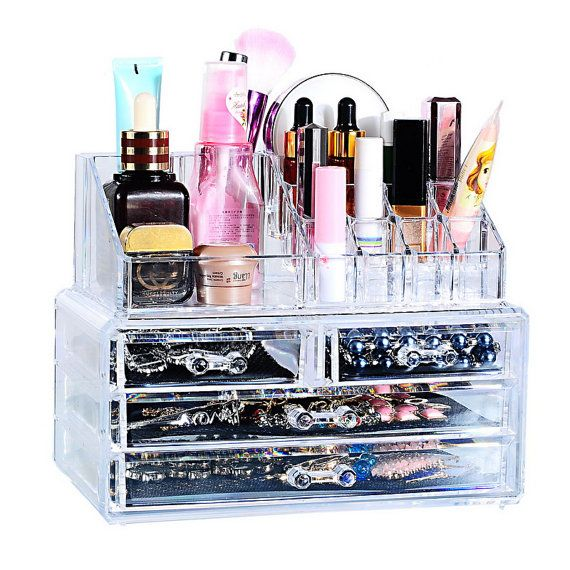 NEW Acrylic Makeup Cosmetic Jewelry Organizer 4 Drawers Clear