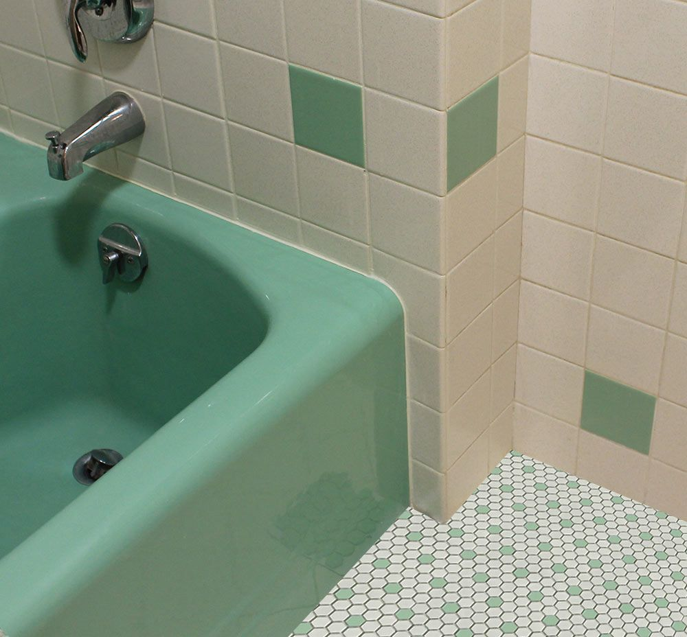 Bathroom Tile Ideas Vintage vintage-green-bathroom-white-and-green-hex-tile | bathrooms