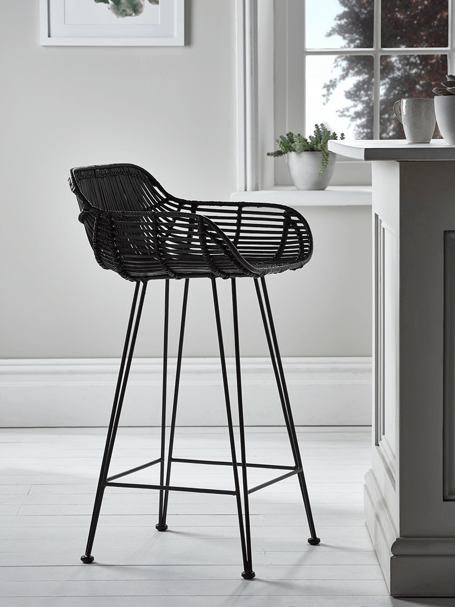 Flat rattan counter stool natural kitchen dressing table stools luxury seating luxury home furniture stoolchair