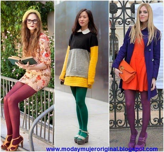 c87df043db moda estilo maquillaje mujer ropa zapatos venta  USAR MEDIAS DE COLORES UNA  MODA 2014