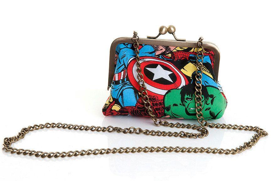 Marvel Avengers Superheros Evening Handbag Purse and Clutch In One. £30.00, via Etsy.