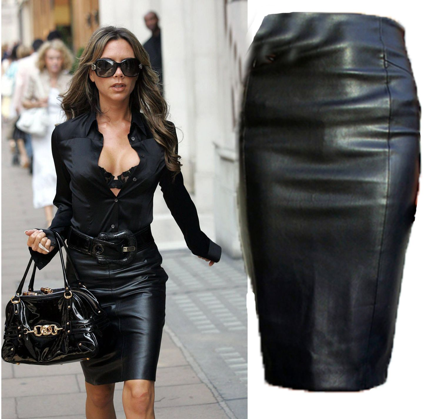 Black Faux Leather High Waist Midi Pencil Skirt | MY FASHION ...