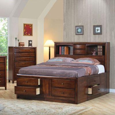 Bookcase Storage Bedroom Set in Walnut Cama Pinterest Bookcase