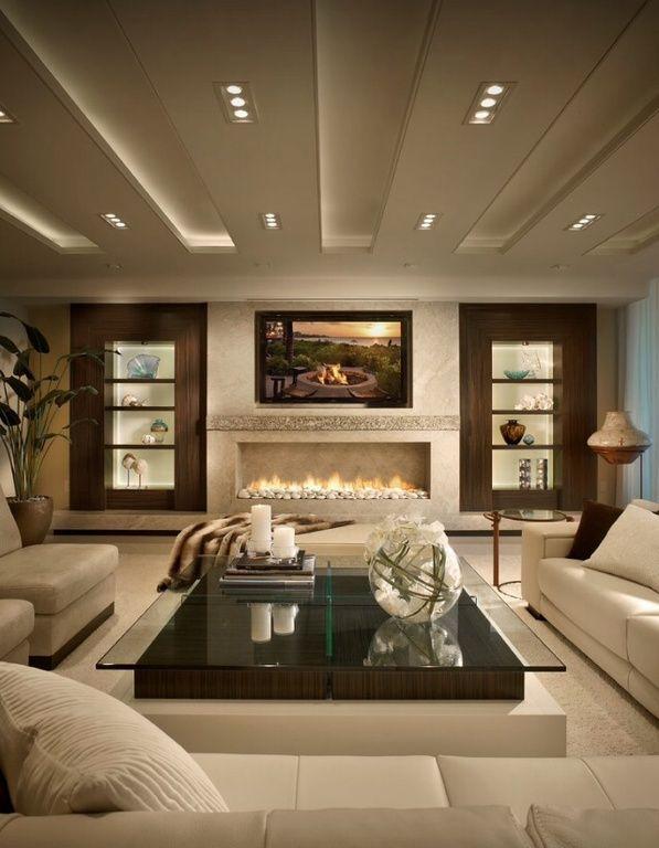 contemporary living room with built-in bookshelf, montigo rp series