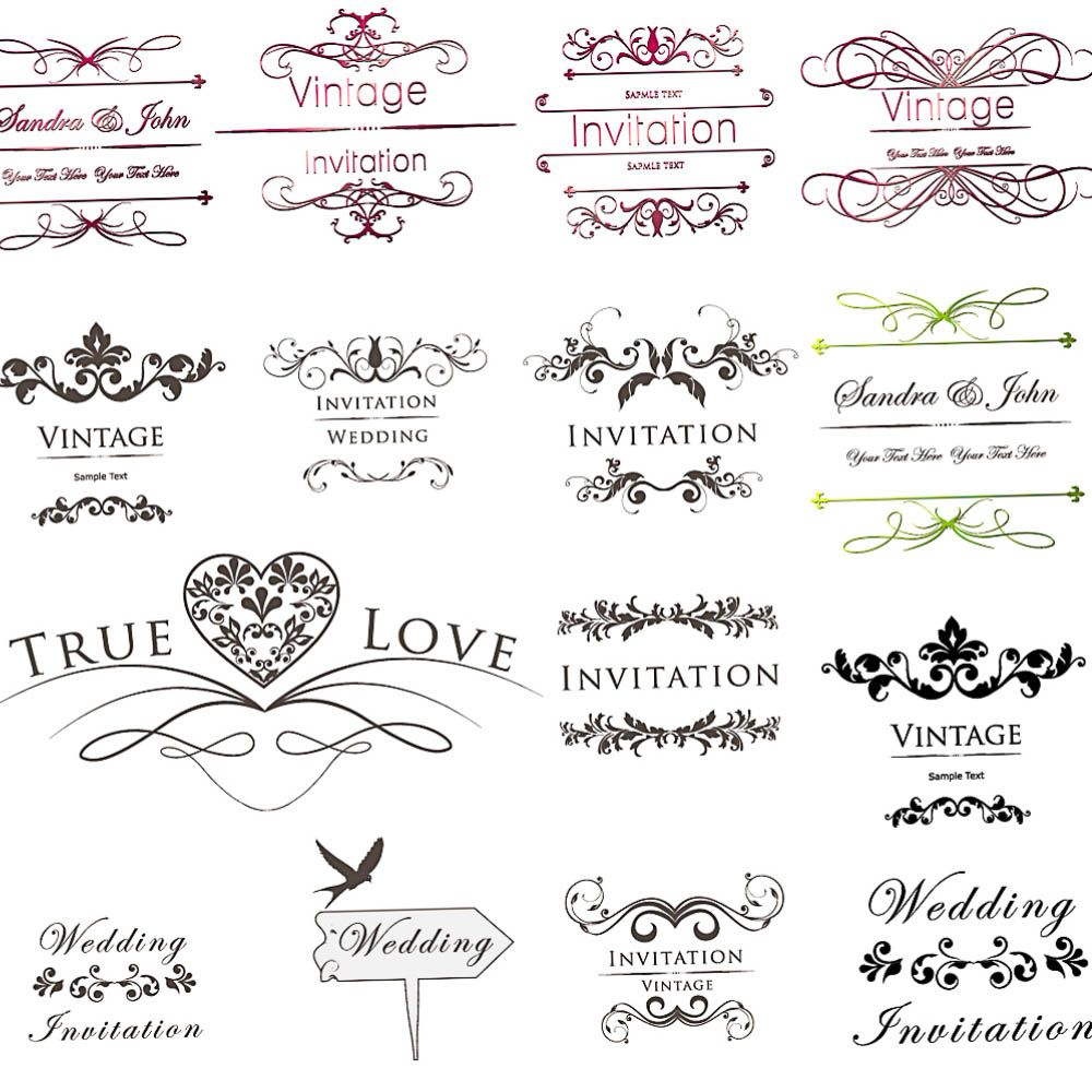 Inscription Wedding Invitations with floral ornament