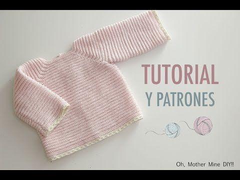 DIY Cómo hacer rebeca de lana para bebés - YouTube | Knit kids ...