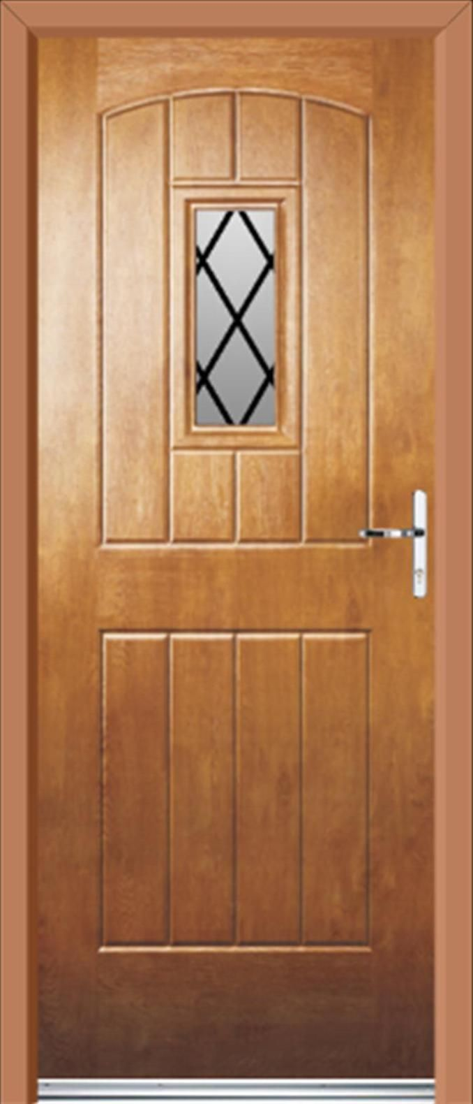Cottage Style Exterior Doors | UPVC Doors English Cottage Diamond Lead  Light Oak | UPVC Front