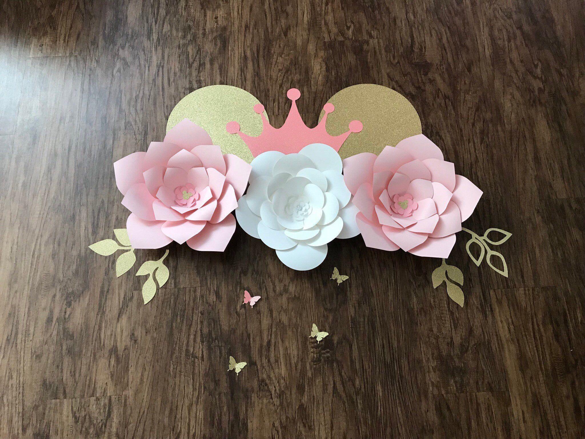Minnie Mouse Princess Paper Flower Wall Decor Nursery Decor