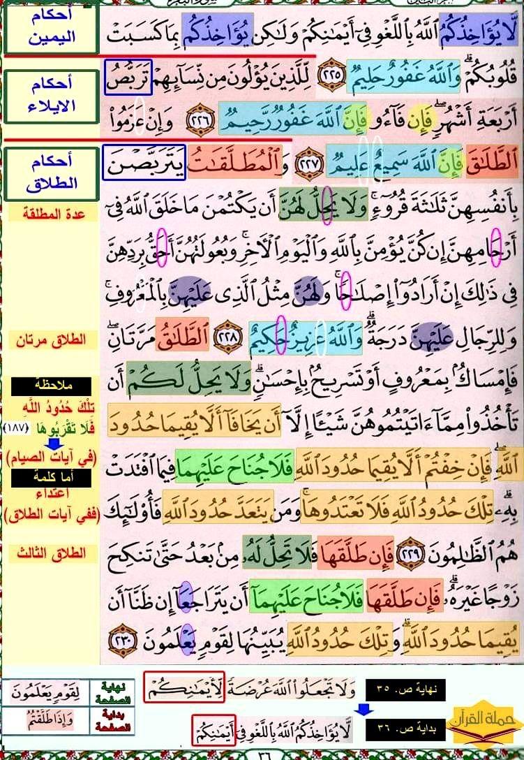 تثبيت حفظ سورة البقرة صفحة ٣٦ In 2021 Quran Verses Verses Quran