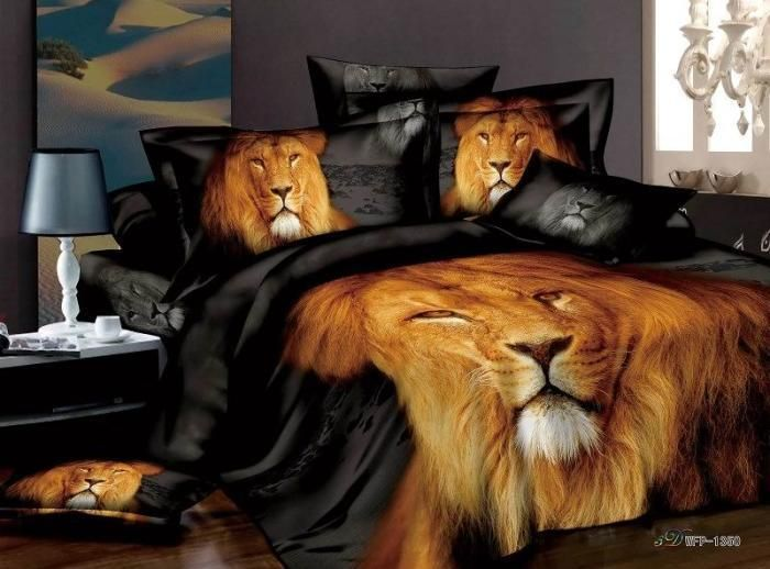 Lion Print Comforter Sets Print Male Lion Black Bedding Set