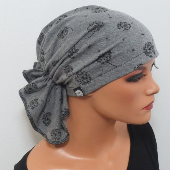 Unique BANDANA In High Quality Jersey Grey With Dandelions