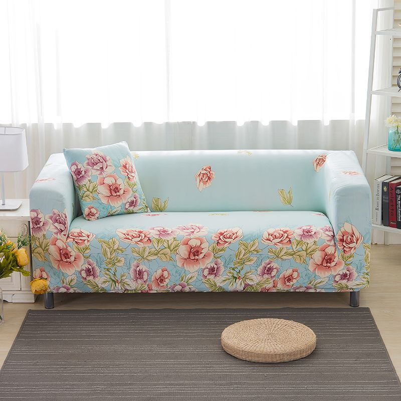 22 46usd Cool Fresh Flowers Printed Elastic Full Sofa Cover L Vormige Sofa Cover 1 2 4 3 Seater Sofa Slipcovers Protector All Inclusive Dekor Orgu