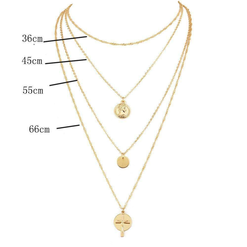 Chic Cross Multilayer Collarbone Necklace is part of Necklace, Needle earrings, Chains necklace, Womens necklaces, Star pendant, Crystal stars -  Street Style 1 PC for 1 PAC AVAILABLE IN COLOR GOLD