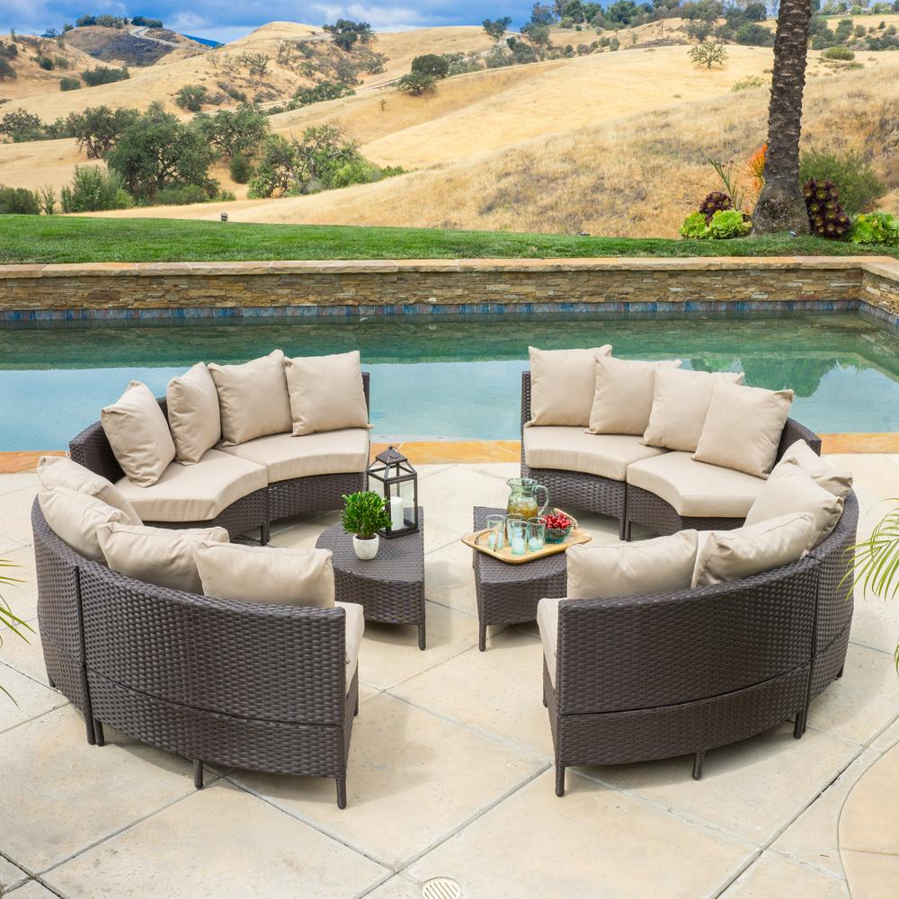 Noble House Newton Dark Brown 10 Piece Wicker Outdoor Sectional Set With Taupe Cushions Outdoor Sectional Patio Lounge Seating