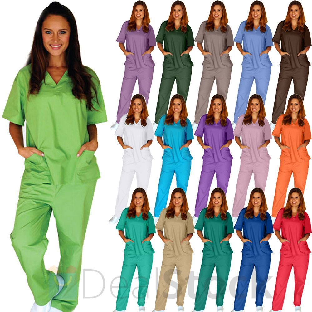 681f7b10f4e Medical Nursing Men Women Unisex Scrub Set Top Pants Hospital Clinic  Uniform New #DSApparel