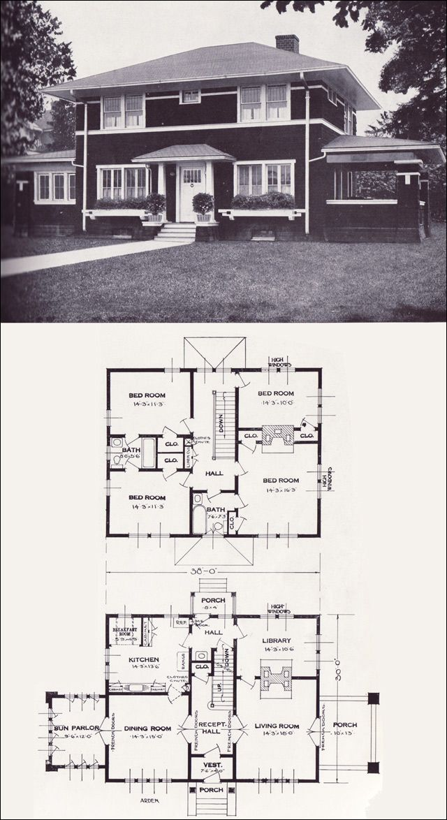 1920s Vintage Home Plans The Arden Standard Homes Company Prairie Influenced Modern Victorian House Plans Vintage House Plans House Plans
