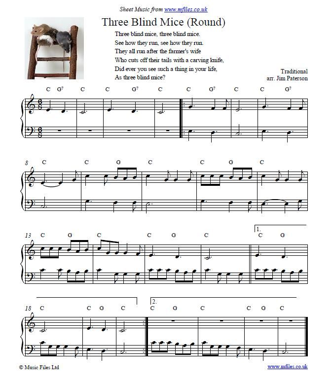 Three Blind Mice Round Children S Song And Piano