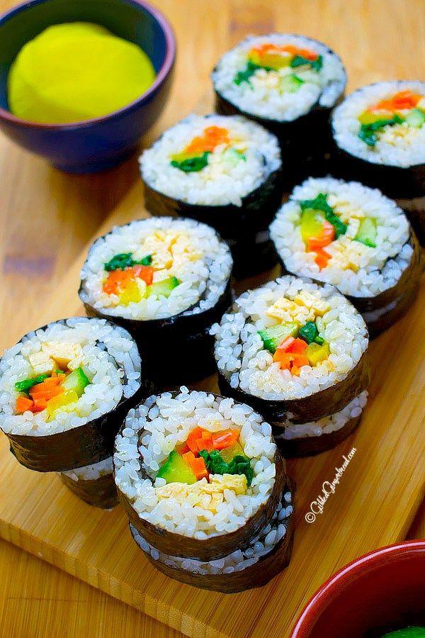 Vegetarian Kimbap Korean Seaweed Rice Roll Recipe Vegetarian