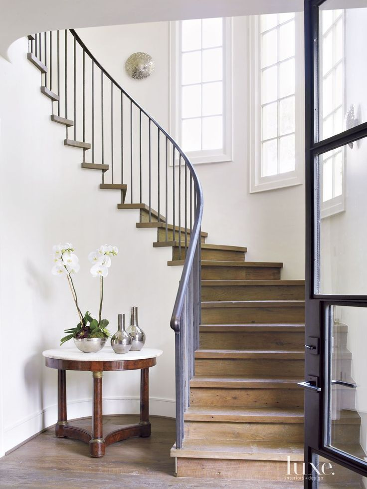 Best Transitional White Staircase With Reclaimed Oak Plank 640 x 480