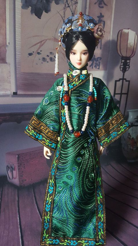 Qing Dynasty 1//6 Scale Handmade Chinese Girl Doll Kurhn Traditional Outfits Toy