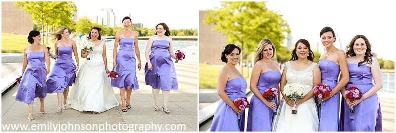Bridesmaids At The Milwaukee Art Museum In Tee Length Purple Lavender With Red Pink