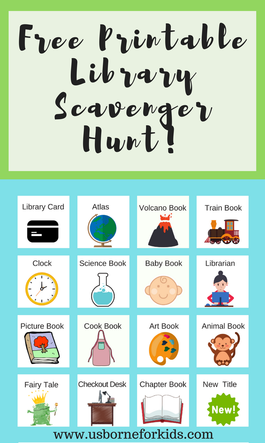 Library scavenger hunt for kids! Library game to print. Get to know ...