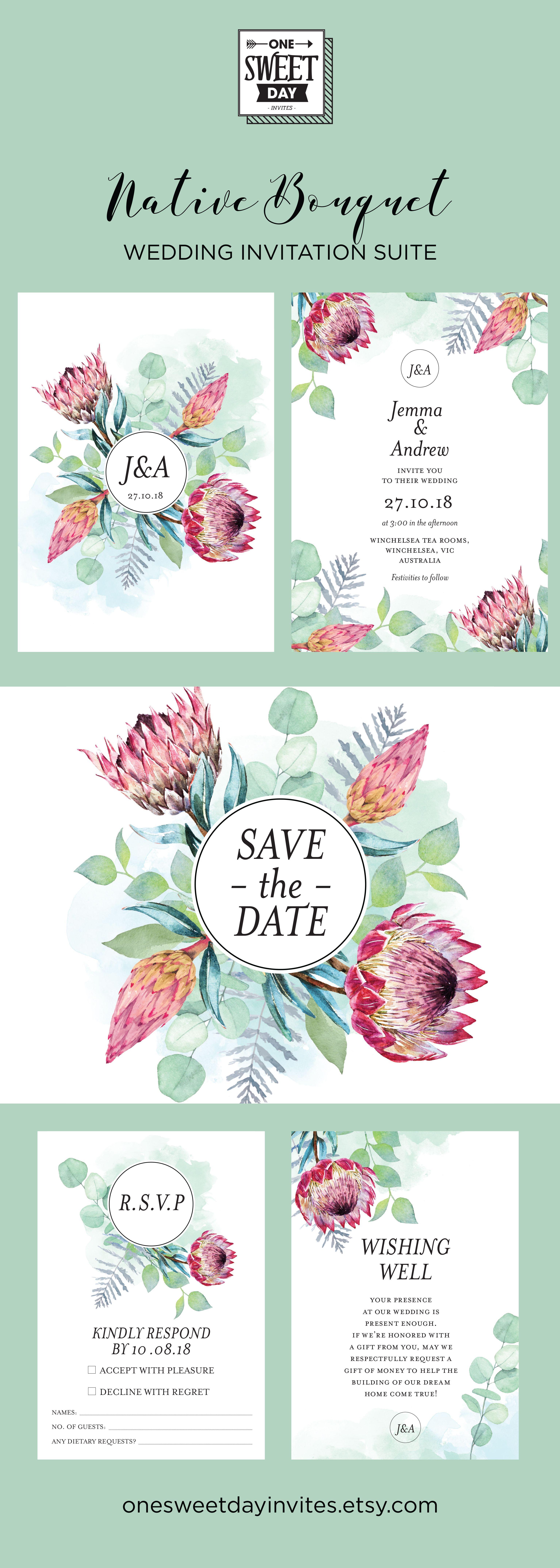 Wedding Invitation Printable, Protea, Australian, Native