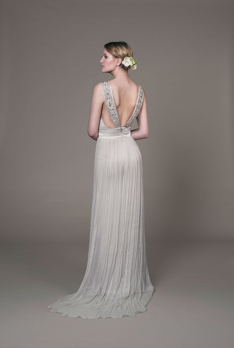 Designer silk chiffon wedding dress