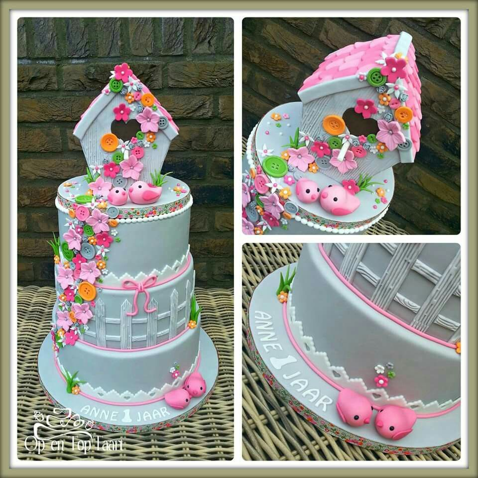 Grey bird house girl birthday cake by Op en Top Taart : housewarming cake decorating ideas - www.pureclipart.com