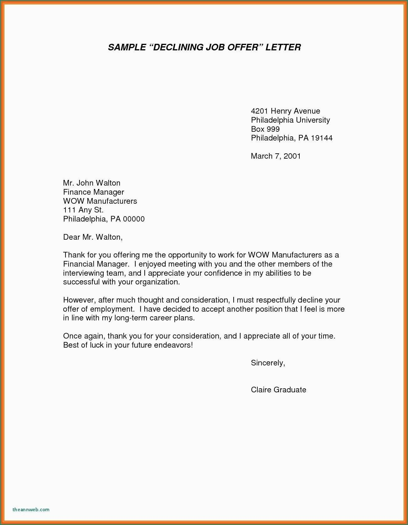 Unique Refusing A Job Offer Letter Job Offer Resume Examples