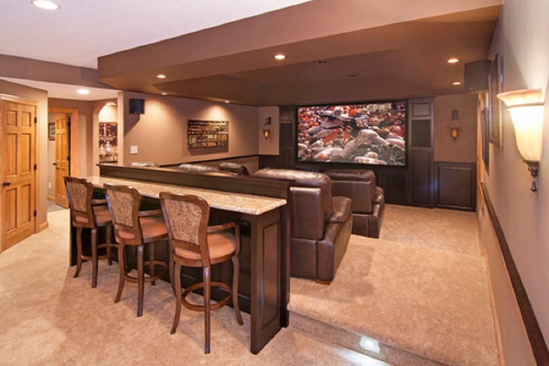 perfect spot for an awesome hangout and a home bar a practical home office and even a much needed kids playroom tag basement home theater design  [ 1100 x 734 Pixel ]