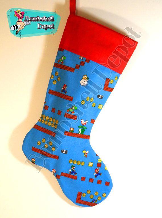 Super Mario Christmas Stocking.Super Mario Brothers Fully Fully Lined Christmas Stocking