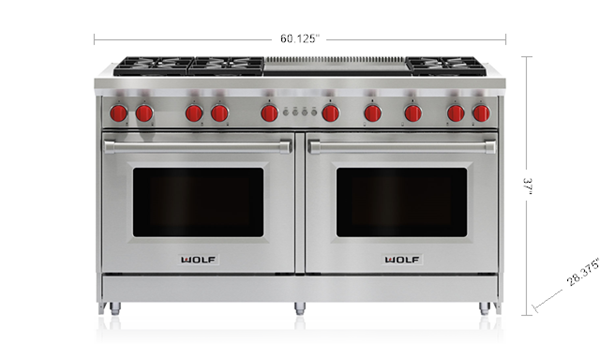 60 Gas Range 6 Burners And Infrared Dual Griddle Range Cooker