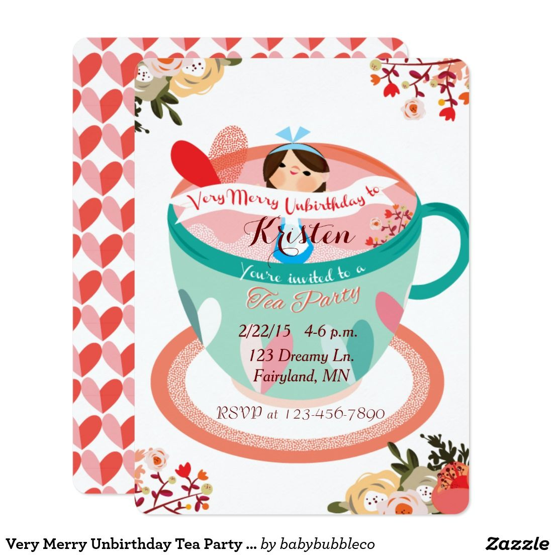 Very Merry Unbirthday Tea Party Invitation | Tea Party Invitiation ...