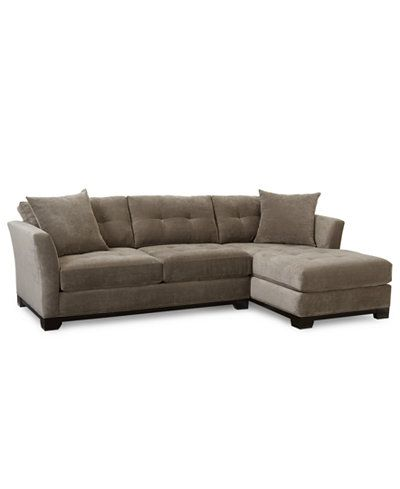 Elliot Fabric Microfiber 2 Pc Chaise Sectional Sofa Vintage