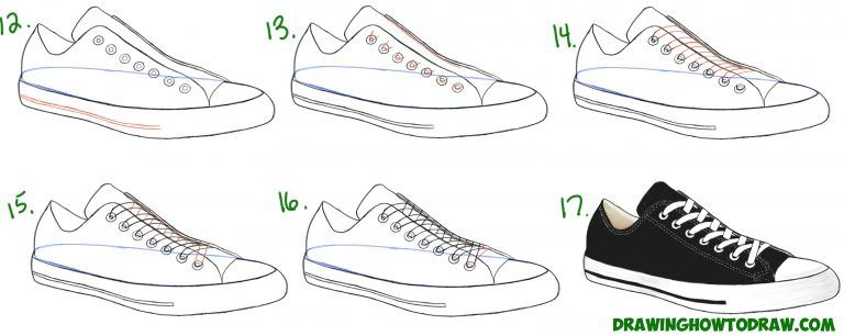 How To Draw Sneakers Shoes With Easy Step By Step Drawing
