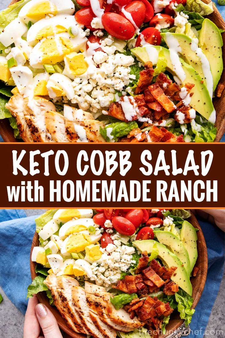 Keto Cobb Salad and Homemade Ranch Dressing - The Chunky Chef