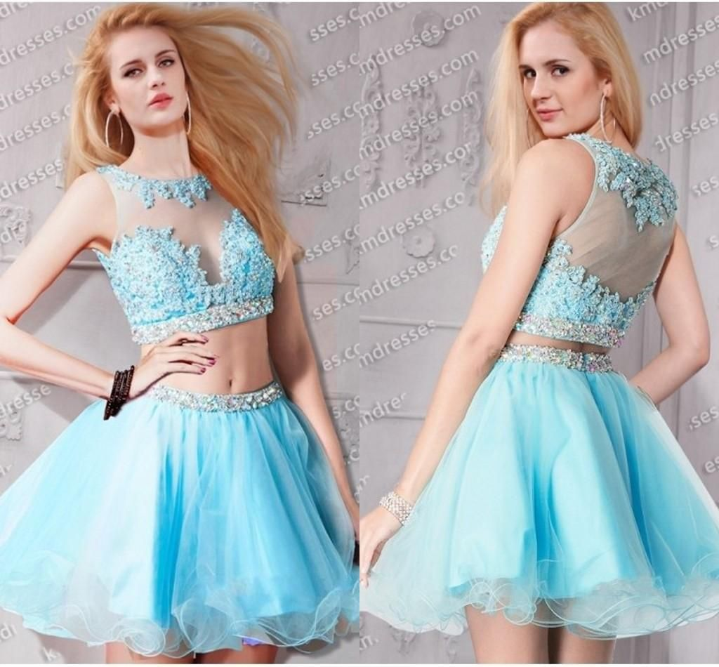 2 piece prom dresses Short Prom Dresses 2015 Sexy Beaded Tulle Ice ...