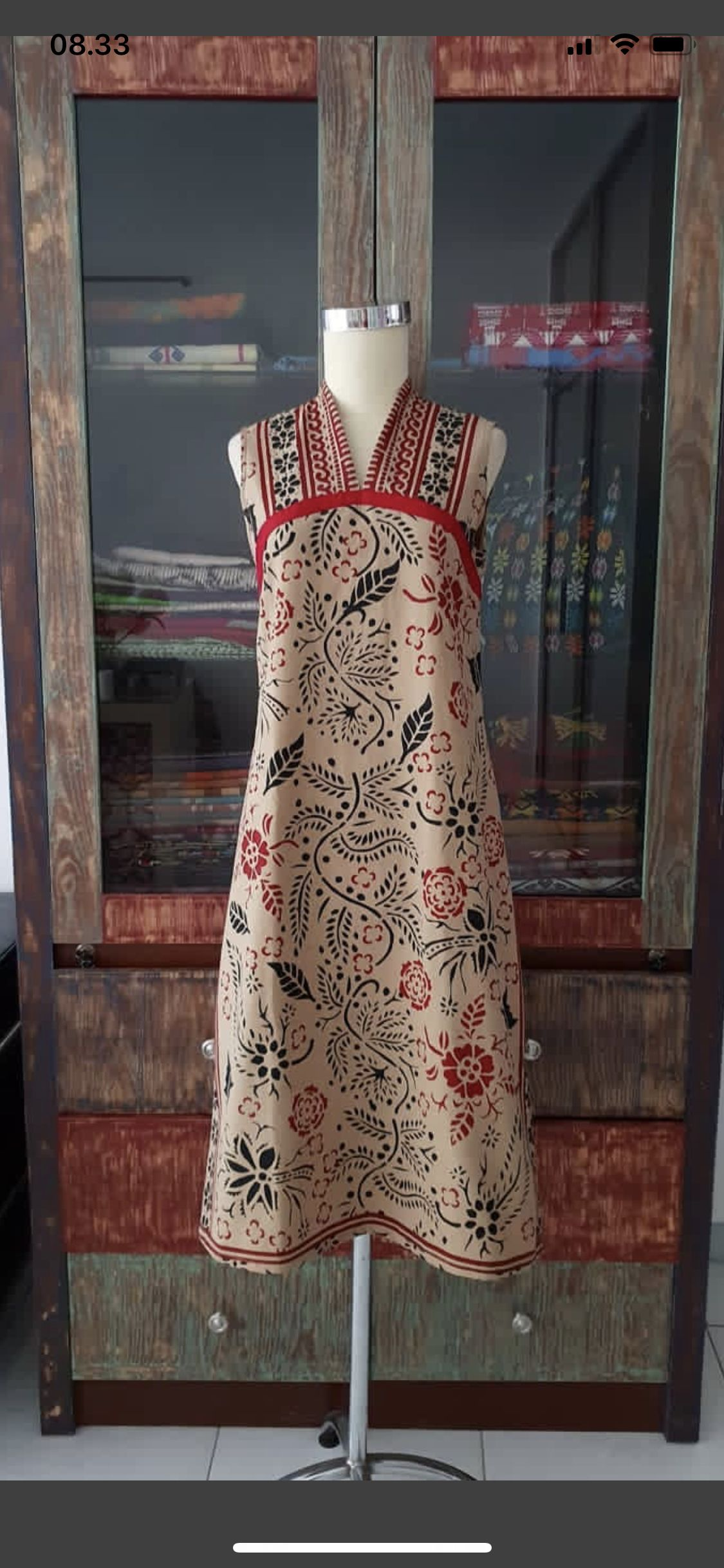 b6ef28f634 Print shirt midi mini empire halter high neck thick strap dress pockets red  trim