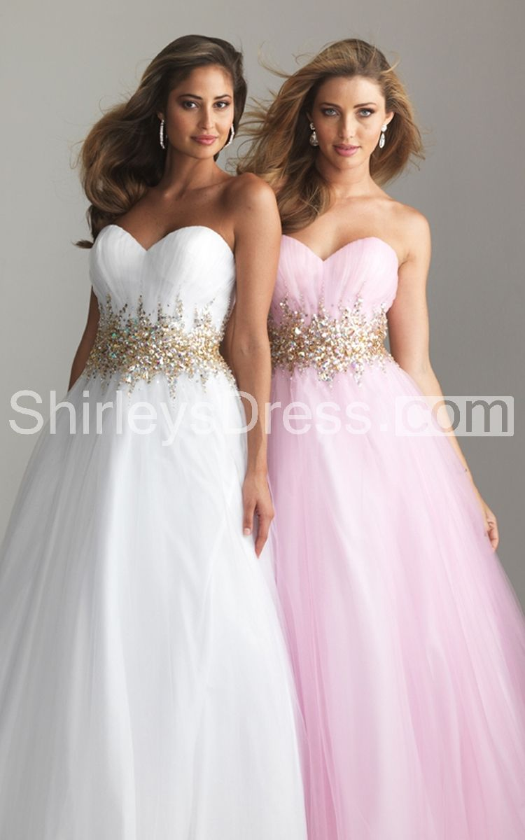 Romantic beaded sweetheart layered tulle prom ball gown dresses