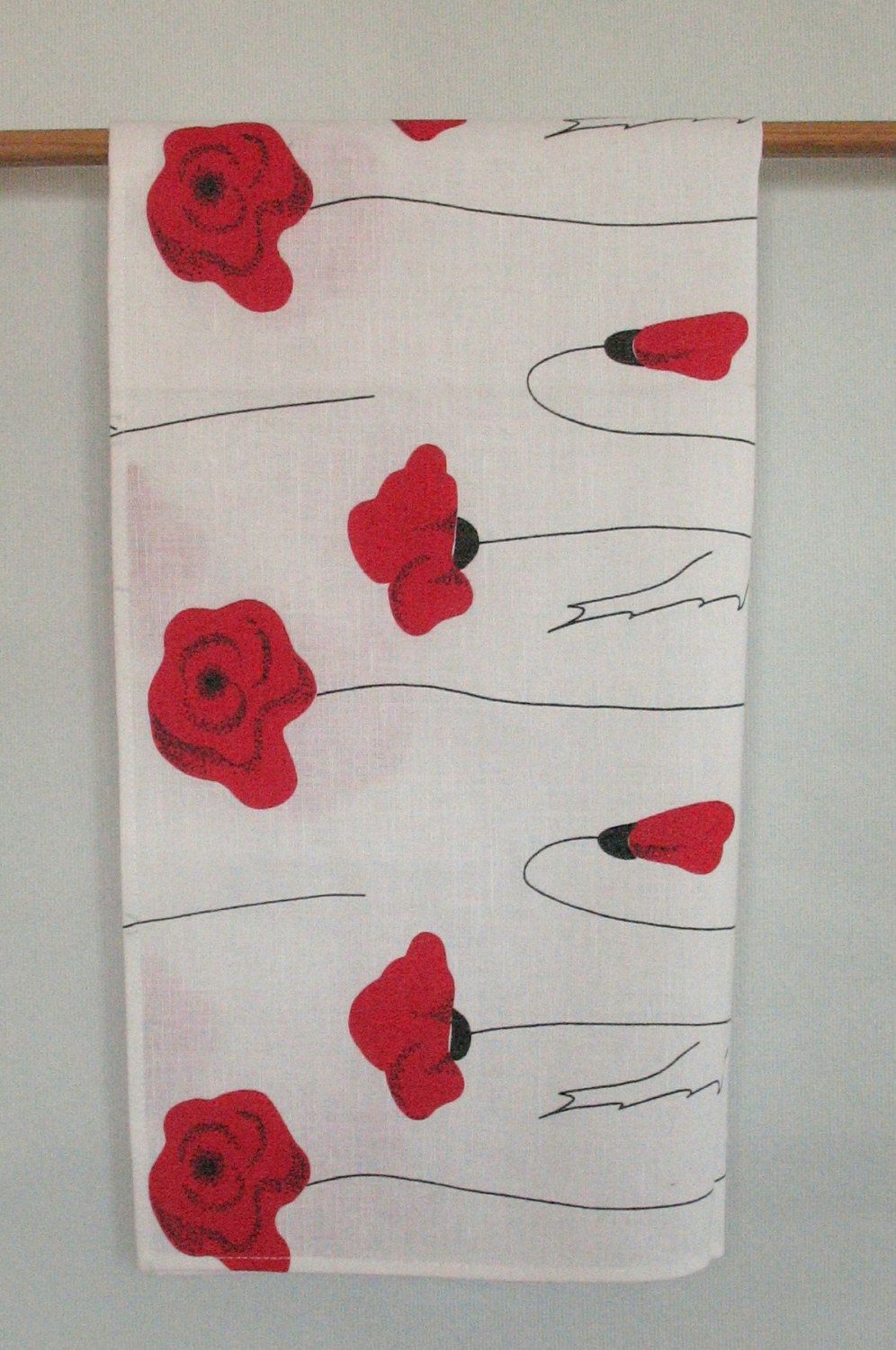 Linen Cotton Kitchen Towels Tea Towels Red Poppies Red Black White