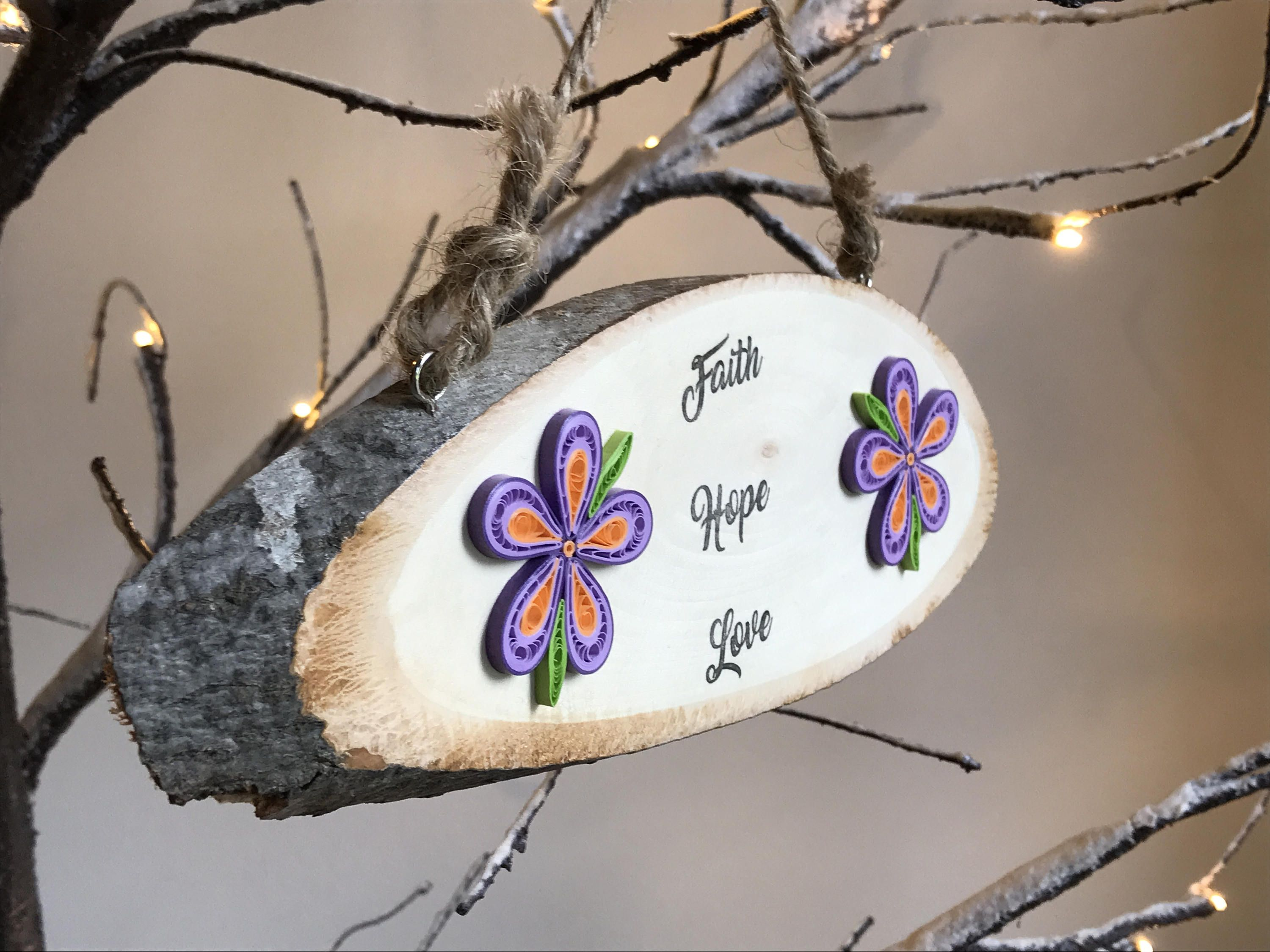 Large quilled wooden faith hope love sign wooden faith hope love