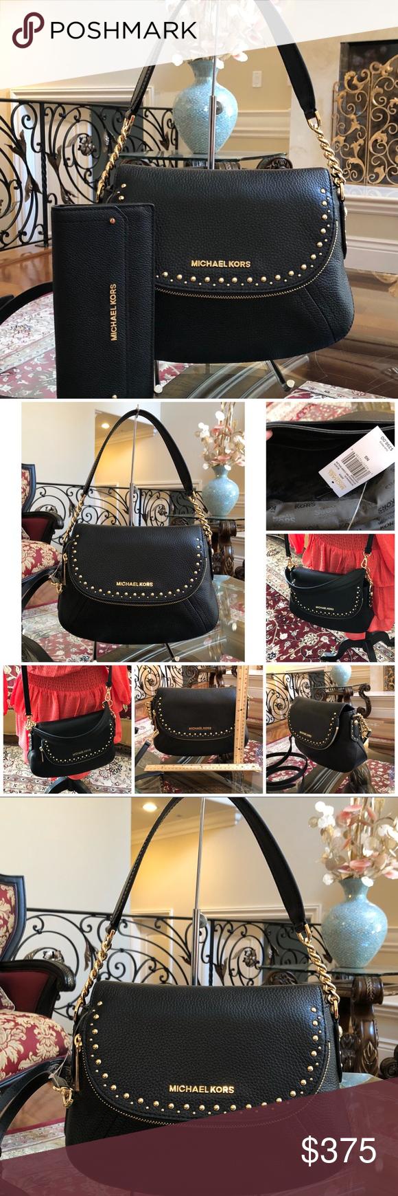 4a900e1043da Michael Kors Aria MD Conv handbag wallet set Guaranteed Authentic Bundled  2PCS Handbag+Wallet set NWT MICHAEL KORS STUDDED MD CONV SHOULDER STYLE  ...