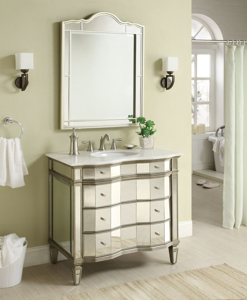 Adelina 36 Inch Mirrored Bathroom Vanity Meets Contemporary Classic