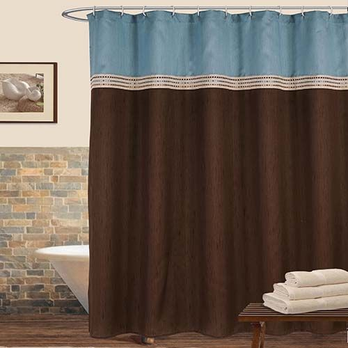 Terra Blue And Brown Shower Curtain Lush Decor Shower Curtains